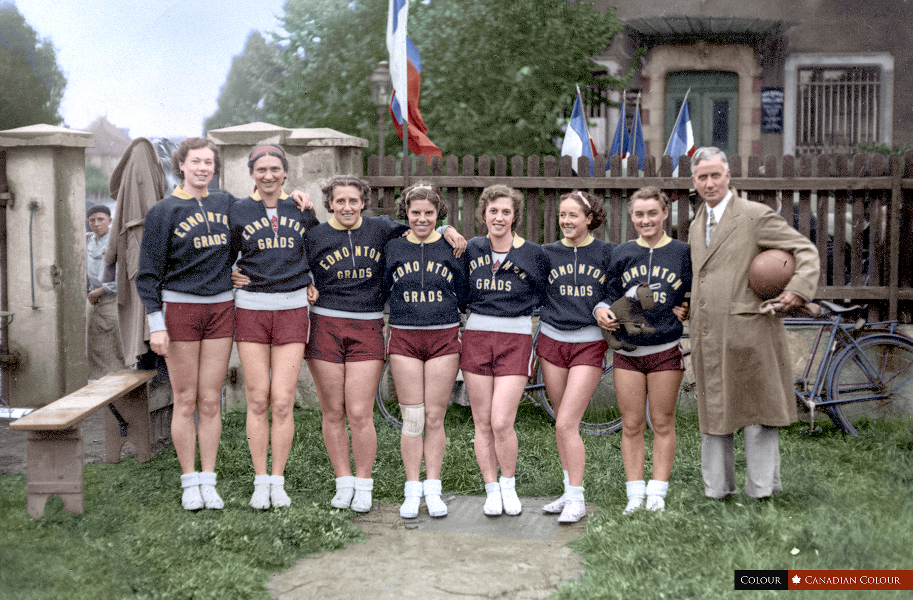 Edmonton Grads basketball team, Strasbourg, France 1936 represented Canada at the Berlin ...